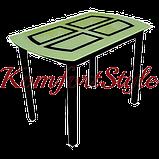 Стол стеклянный кухонный на деревянных ножках Монарх Бридж, фото 2