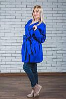 Пальто женское кашемировое электрик