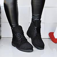 Женские осенние ботиночки замшевые украшены стразами на низком,новинка 2017 р 37,40,41