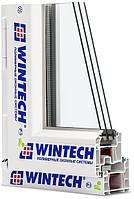 Окно 2100х1400 мм трёхстворчатое два глухих и одно поворотно-откидное Wintech 4кам