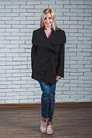 Пальто женское кашемировое с поясом черное