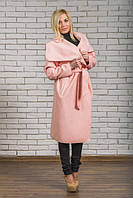 Пальто женское кашемировое длинное персик