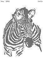 Схема на ткани для вышивки бисером Зебра