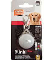КАРЛИ-ФЛАМИНГО светящийся брелок - адресник безопасности для собак, водонепроницаемый, белый, 35мм