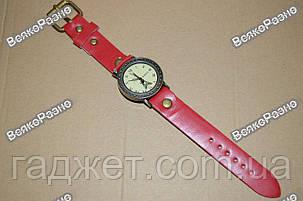 Женские часы с изображением Эйфилевой башни с красным ремешком, фото 2