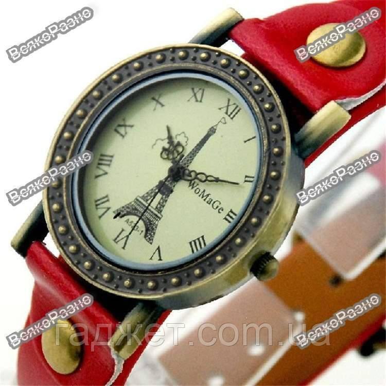 Женские часы с изображением Эйфилевой башни с красным ремешком
