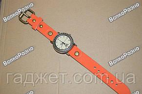 Женские часы с изображением Эйфелевой башни с оранжевым ремешком., фото 2