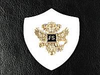 Нашивка Герб с орлами золото цвет белый 56х60мм