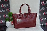 Женская кожаная сумка. Носится с дух сторон. Бордовая.