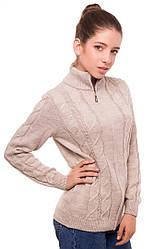 """Теплая шерстяная кофта """"Эсми"""", для девочки, на молнии, цвет бежевый, на рост 152 см"""