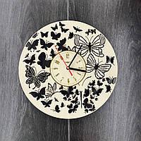 Часы настенные из дерева Полет бабочек, фото 1