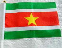 Флажок Суринама 13x20см на пластиковом флагштоке