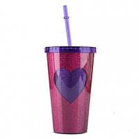 Стакан с крышкой и трубочкой Purple heart