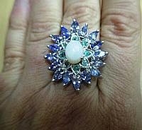 """Потрясающий перстень с танзанитами  , изумрудами и опалом """"Цветы"""" , размер 18,3  от студии LadyStyle.Biz, фото 1"""