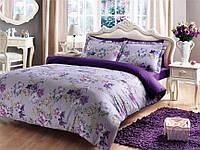 Сатиновое постельное белье с фиалками Tivolyo Home VIOLA евро