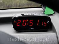 Автомобильные часы vst803c-1, с красным светодиодным дисплеем, будильником и термометром