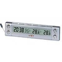 Компактные авточасы с наружным датчиком температуры vst-7036, будильник, синяя подсветка дисплея, фото 1