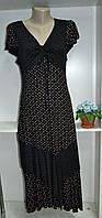 Трикотажное летнее женское платье черное в  горох, фото 1