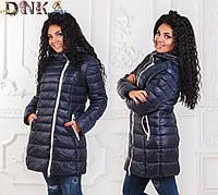 Женская зимняя куртка белая строчка БАТАЛ