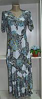 Летнее платье стрейч с цветочно животным принтом, фото 1