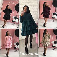 Шикарное пальто с рюшами в расцветках  ANG-002.009.036