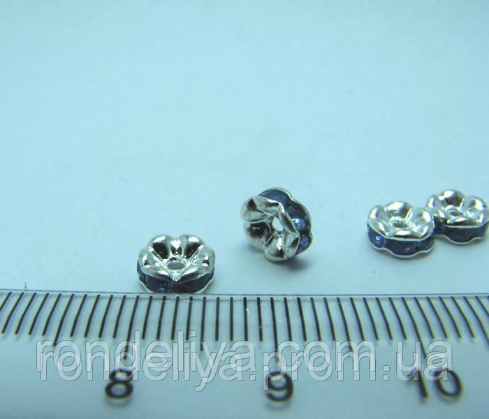 Рондель с голубыми стразами диаметр 6 мм
