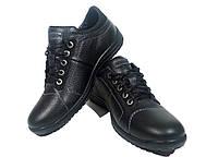 Туфли мужские натуральная кожа черные на шнуровке (090)