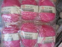 Турецкая пряжа для вязания  YarnArt Macrame (макраме)- 140 ярко  розовый