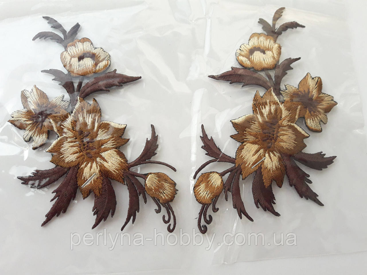 """Аплікація вишивка клейова парна """"Квіти""""коричнев , 12-13 см 1пара. Аппликация клеевая, термоаппликации"""