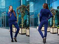 Стильный замшевый костюм синего цвета