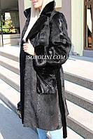 Модная шуба из меха  стриженной нутрии, английский воротник, с норкой, фото 1