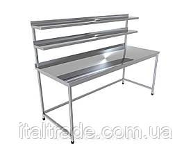 Стіл виробничий з бортом і двома верхніми полицями