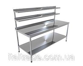 Стіл виробничий з бортом, двома верхніми і однієї нижньої полицями
