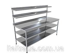Стіл виробничий з бортом, двома верхніми та двома нижніми полицями