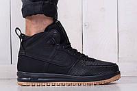 Мужские зимние стильные кроссовки Nike Lunar Force 1 Black (реплика), фото 1