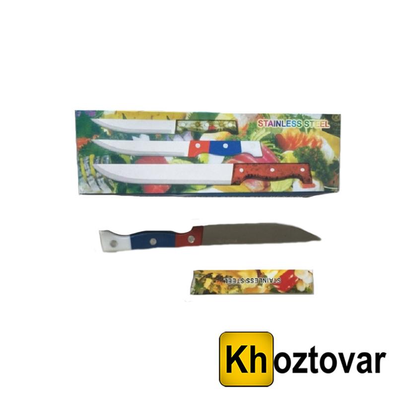 Нож трехцветная ручка 5-ка. Длина лезвия 12,5 см.