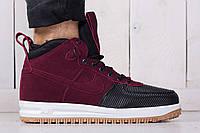 Осенние высокие кроссовки с подкладкой Nike Lunar Force 1 Bordo (реплика)