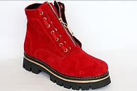 Ботинки женские красные, замш.