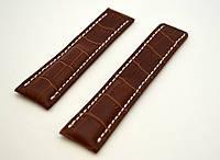 Кожаный ремешок Breitling - цвет коричневый, белая строчка