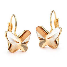 Маленькие женские серьги с камнями Сваровски золотистые бабочки позолота