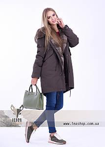 Стильная молодежная куртка парка с мехом кролика