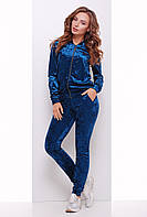 Ультрамодный женский велюровый костюм (кофта и штаны) синего цвета волна