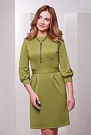 Женское стильное приталенное платье с поясом, рукава 3\4 с манжетами цвет оливковый
