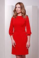 Женское стильное приталенное платье с поясом, рукава 3\4 с манжетами цвет красный