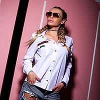 Рубашка Doratti женская стильная декорирована довязом и каучуковым логотипом коттон 2 цвета Rdor175