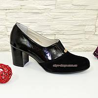 Туфли женские черные на каблуке, натуральная лаковая кожа и замша.