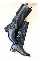 Женские кожаные сапоги-трубы