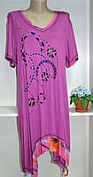 Трикотажеое летнее платье туника хорошнго качества большой размер, фото 1