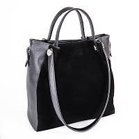 Замшевая сумка-шоппер М130-47/замш оригинальной формы с ручками на плечо