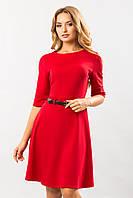 Женское классическое красное платье с поясом и шлевкой, юбка клеш